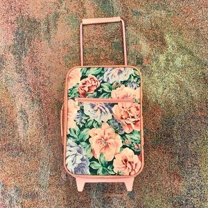Vintage floral rose duffle roller suitcase luggage